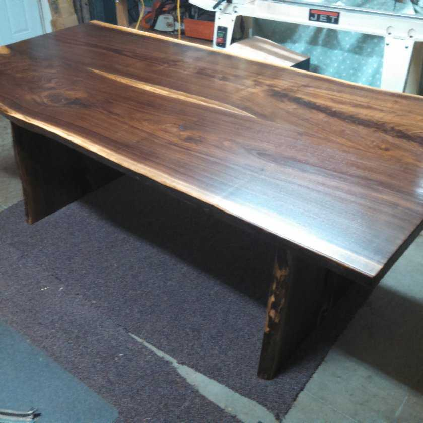 A Beautiful Walnut Live Edge Slab Dining Table