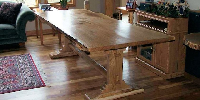 Live Edge Ash Trestle Dinning Table